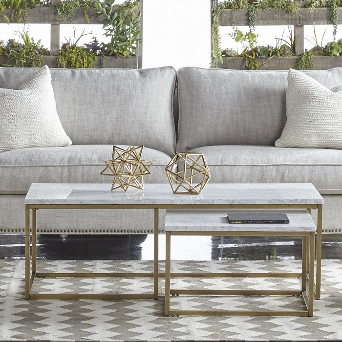 Brushed Gold White Marble Rectangular Coffee Table: Orient Express Furniture Carrera White Marble And Brushed