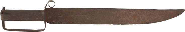 "Massive Confederate D-Guard Bowie Knife, Indigenous to Kilgore, Texas. 21.5"" overall with 16.5"" clipped point blade with false edge, 2"" wide at the base, and 0.25"" thick. Blade with deep dark aging with light pitting overall, but completely untouched. The heavy sheet iron hilt employs a double D-guard with a decorative curled quillon."