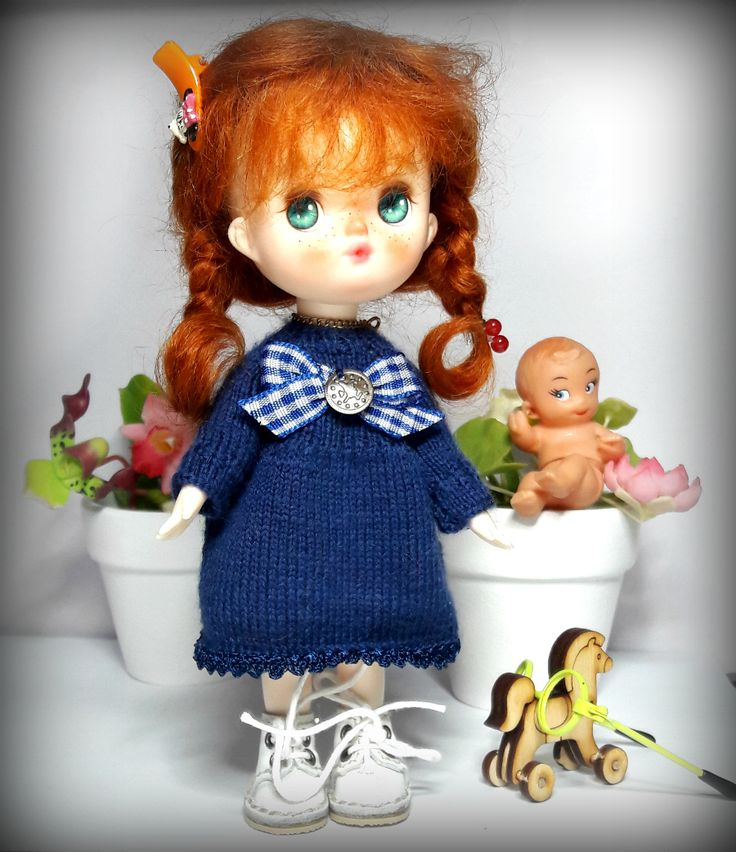 Blue knitted dress for Ori by Lele doll