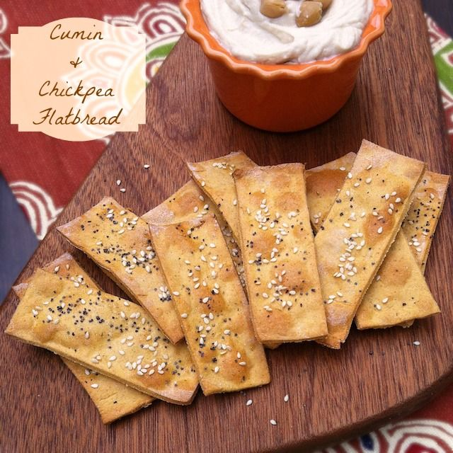 DIY crackers! Cumin & Chickpea Flatbread + Super Bowl Snack Round Up and Pin It Party - Teaspoon of Spice