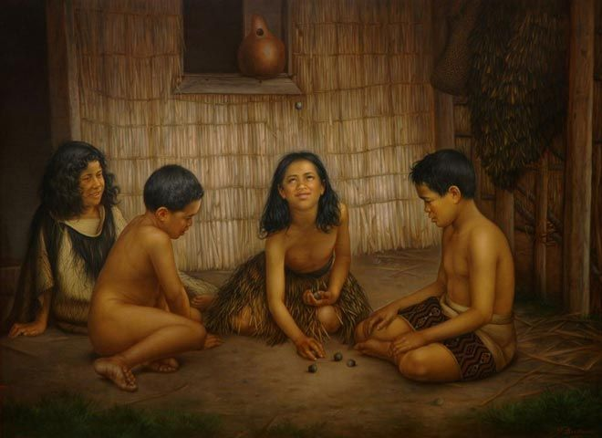 Māori children playing knucklebones