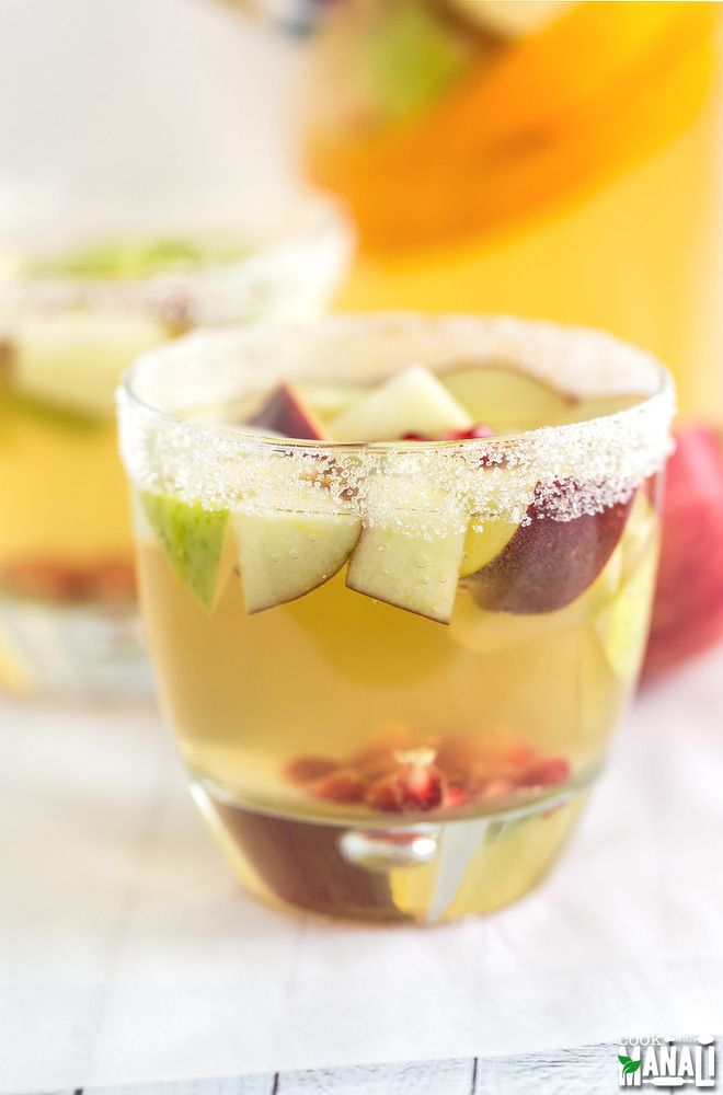 Easy to make and delicious, this Non Alcoholic Apple Cider Sangria is a refreshing drink to celebrate fall! Find the recipe on www.cookwithmanali.com