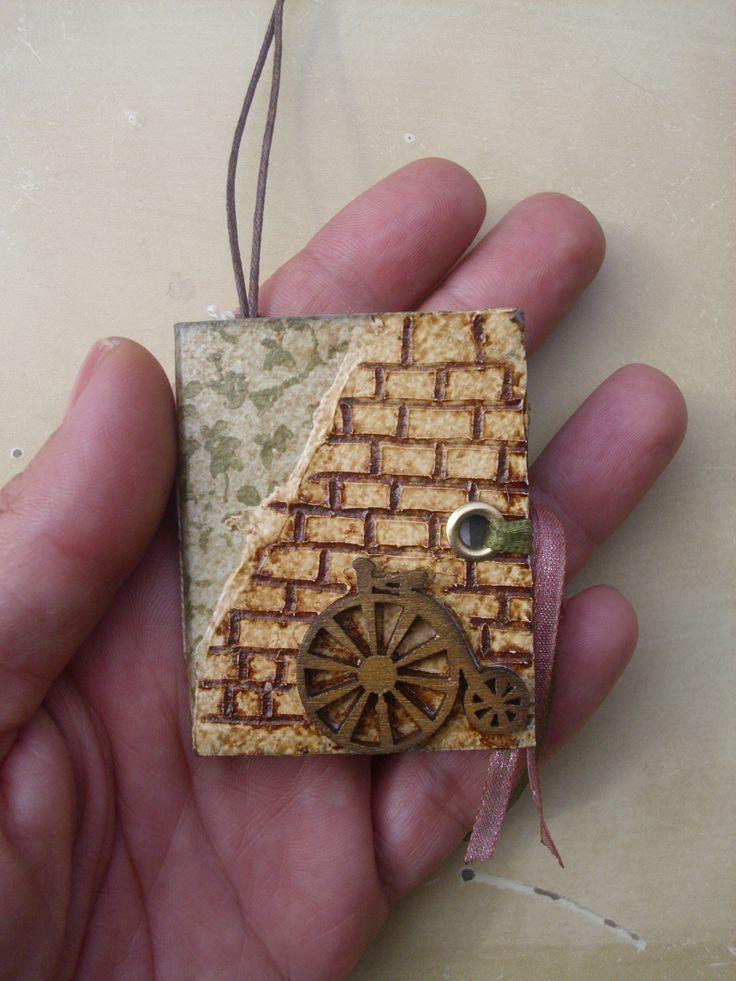 Bicycle on Wall Mini Junk Journal Pendant
