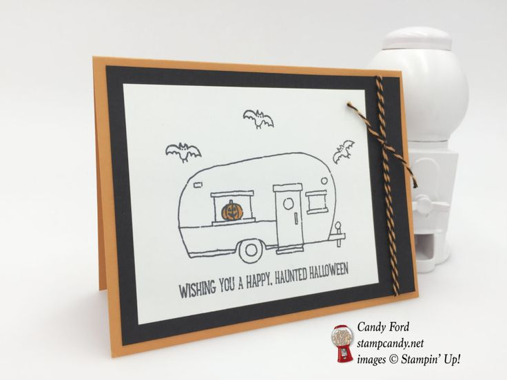 Click through to stampcandy.net for details! Stampin' Up!, World Card Making Day 2016, Glamper Greetings Stamp Set, Whisper White, Pumpkin Pie, Basic Black, Halloween Night Baker's Twine, Stampin' Write Markers, Bats, Pumpkin #WCMD2016