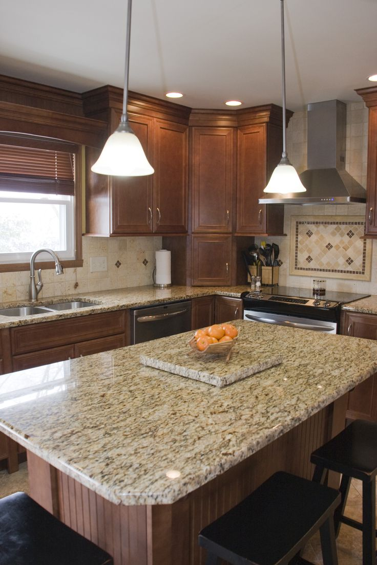 Maple Nutmeg cabinets with Granite tops and light colored ... on What Color Backsplash With Maple Cabinets  id=14080