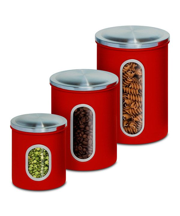 Set of 3 lidded steel storage containers with side viewing windows.  Product: Small, medium and large canister with lidConstruction Material:  MetalColor: ...