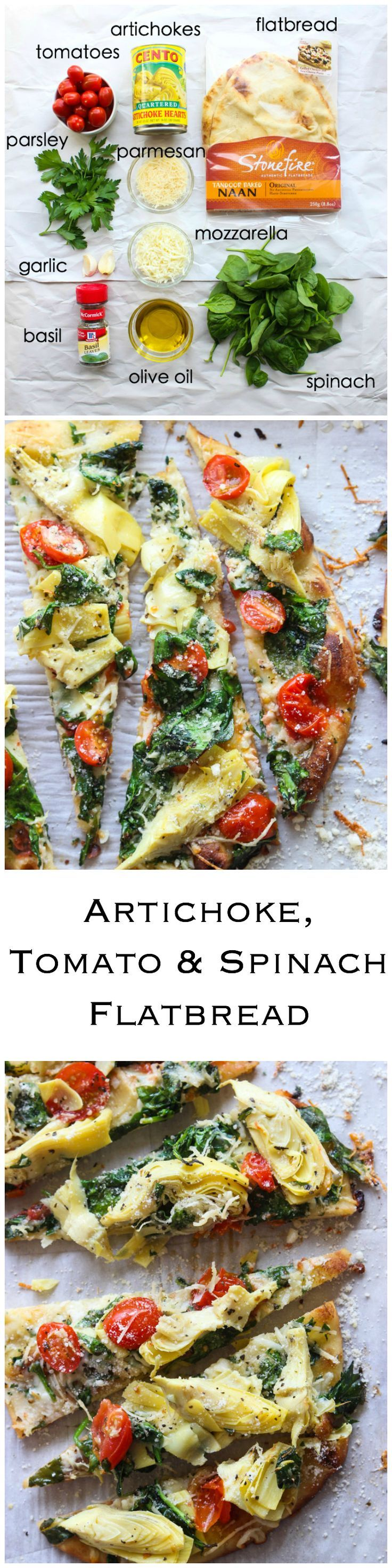 Artichoke Tomato and Spinach Flatbread - delicious and easy appetizer that is loaded with artichokes, tomatoes, and spinach. Serve this for holiday or football parties | http://littlebroken.com /littlebroken/