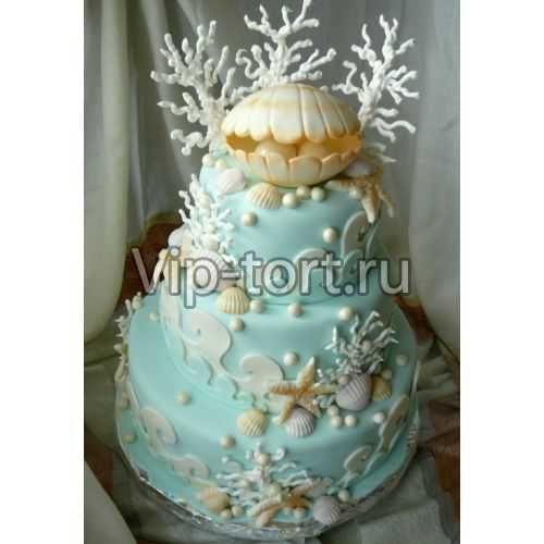 Торт на Жемчужную свадьбу (Ракушка с кораллами)