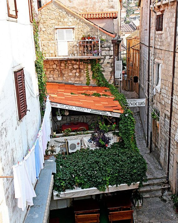Dubrovnik Croatia Photography - Restaurant Along the Wall - Old City Photo - Mediterranean Decor