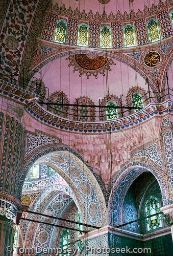 Sultanahmet Mosque interior and ceiling. Built 1609-1616 in Istanbul, Turkey