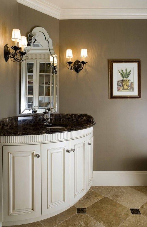 Bathroom Paint Colors Travertine Tile dark emperador marble vanity w inserts in travertine tile | bathroom