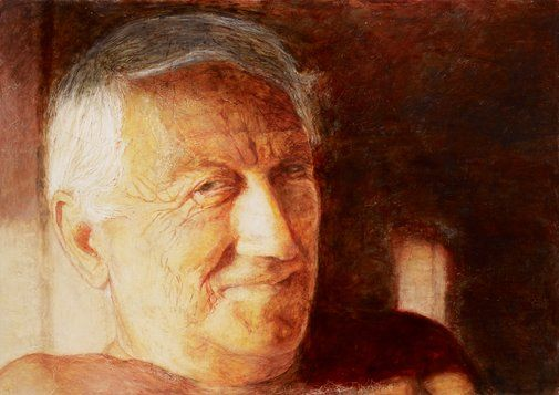 """The portrait and it's background make me cry: Archibald Prize 2011 Finalist,Title; """"My Jack"""" Jenny Sages's beloved husband, Jack Sages, died on 1 October 2010. """"For our 55-year marriage I was his woman and he facilitated my need to work in every possible way. The MDF board on which this work is painted was the last one he built for me. I used it to make my first and only portrait of Jack. I started it in June last year and finished it on July 18th. He sat for me almost daily on our…"""