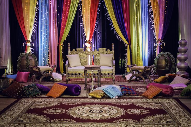 An elaborate Mehndi stage set-up. I love all the colours. Mehndi's are always great fun to photograph.