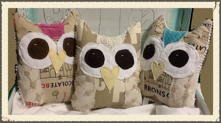 Linen and vintage chenille owls.facebook.com/moxieandzab