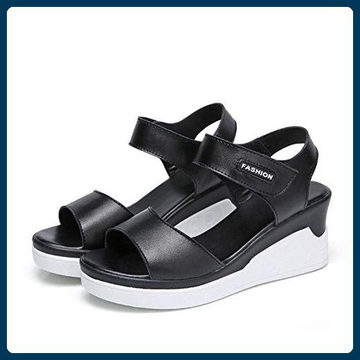 Sandalen L@YC Damen Sommer Leder Flache Sandalen In Der Hang Mit High Heels Wild 2017 Dicke Schuhe , black , 36 - Sandalen für frauen (*Partner-Link)