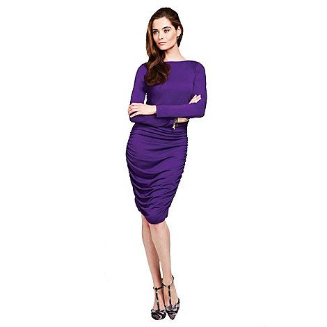 Our beautiful purple ruched dress just sits on the knee and is perfect for a sophisticated party look. Dress up with statement jewellery and heels. Alternatively team with heels and a biker jacket for easy elegance. It's made with HotSquash hidden Clever technology which regulates your temperature and keeps you fresh.