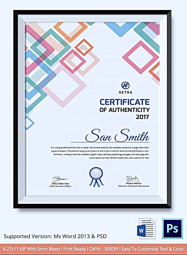 The 149 best certificate template images on pinterest certificate 8 sample certificate of authenticity documents in pdf psd yelopaper Gallery