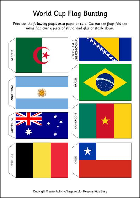 World Cup flag bunting free printable --- print and/or make own
