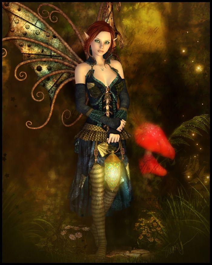 Heoric and stunning fairy carries lantern through spirited forest.