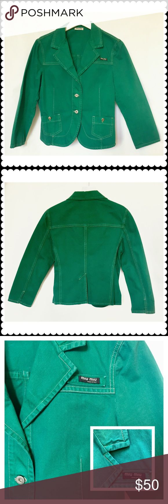 """Miu Miu green cotton jacket Miu Miu green cotton jacket. Worn and dry cleaned. There were stitches broken on one of arm. I fixed it by hand not to spread as seen on the last 3 photos. It's easy to fix better by sewing machine or by tailors. Price reflects this. It said XL but runs small. Shoulder is about 15.5"""". Chest about 18.5"""". Sleeve about 20"""". Miu Miu Jackets & Coats Blazers"""