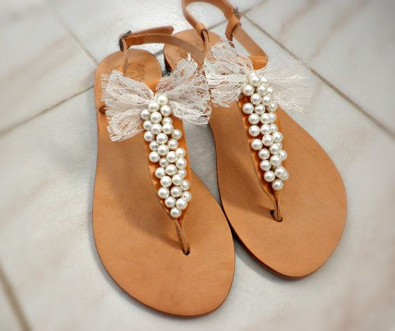 Wedding leather sandals- Pearls decorated with lace bow sandals-Bridesmaids sandals-Summer leather sandals- White pearls women shoes flats on Etsy, $58.46