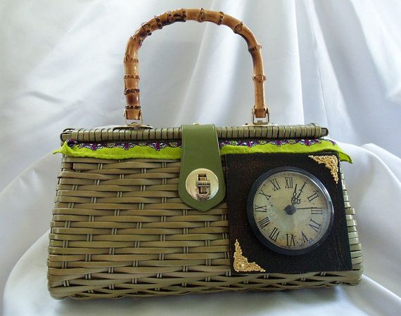 Green Basket Handbag, One of a Kind Steampunk Clock Purse with working clock, Haute Vintage Couture Purse