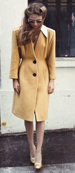 vintage, beautiful coat, yellow, mustard, winter, autumn, retro, hairstyle, hair, victory rolls, photography, fashion
