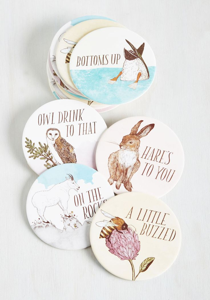 Have a Little Pun Coasters. From the smirk-inducing to the eyebrow-raising, these coasters full of colorful puns from Frida Clements for Chronicle Books is all in good fun! #white #modcloth