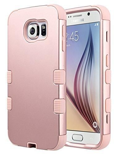 Galaxy S6 Case S6 Case ULAK Shock Resistant Hybrid Soft Silicone Hard PC Cover Case for Samsung Galaxy S6 [Will NOT Fit S6 Active] (Rose Gold)