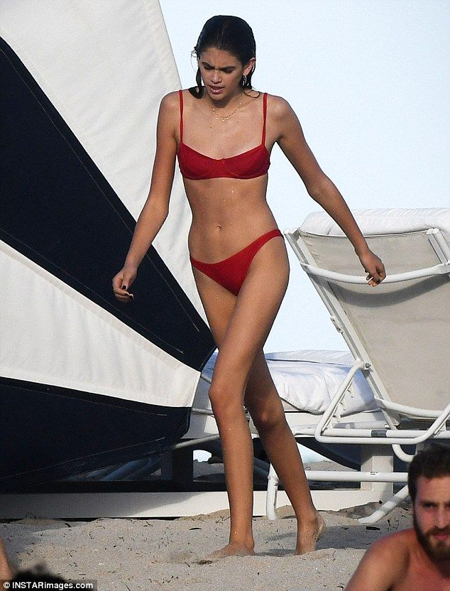 Spot on: For their day of fun in the sun, Kaia wore a retro-inspired red two piece which was both fashion-forward but age appropriate
