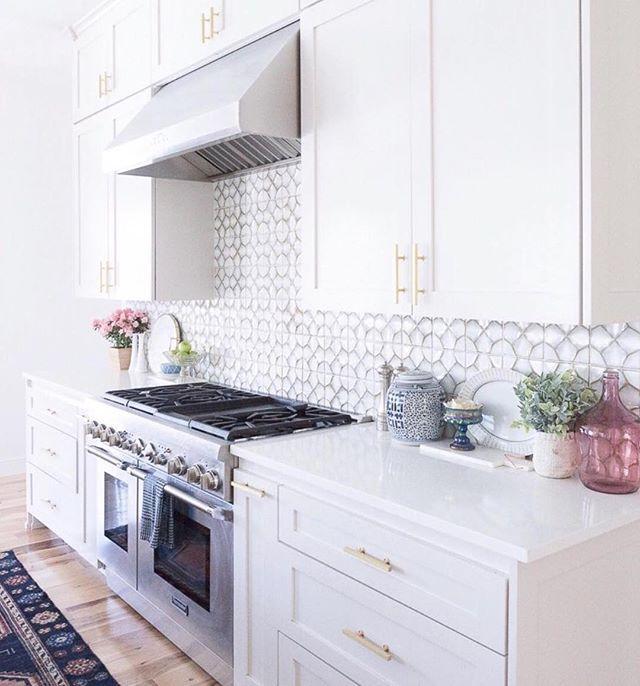 What A Dreamy White Kitchen Designed By Ccandmikecreative Nottingham Honeycomb Tile White Kitchen Remodeling White Kitchen Design Patterned Tile Backsplash