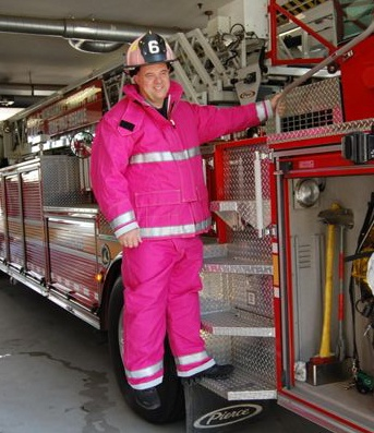 pink firefighter!Firefighters Marshalls, Breast Cancer, Pink Gears, Pink Bunker, A Real Man, Ribbons Pink, Fire Fighters, Pink Firefighters, Bunker Gears