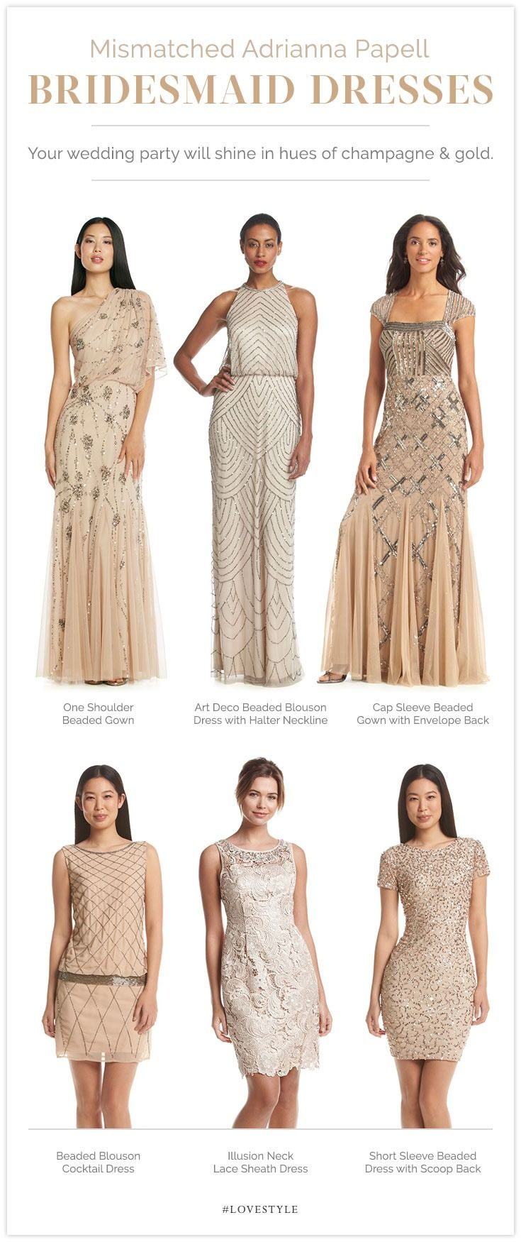 Tips from a bride on how to pull off the mismatched bridesmaid dress trend, featuring her favorite Adrianna Papell frocks.