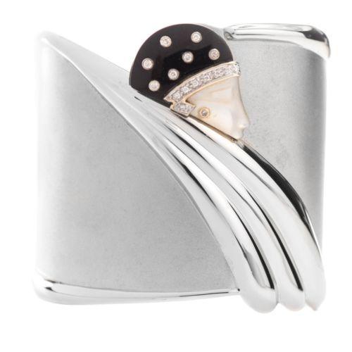 Erte-TEMPEST-14k-Gold-Sterling-Silver-Diamond-MOP-Onyx-Bracelet-176-of-600
