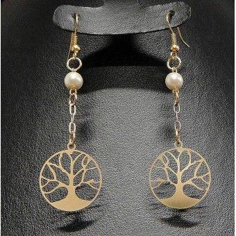 Aretes de Moda con Chapa de Oro, Perla y Dije Árbol de la Vida