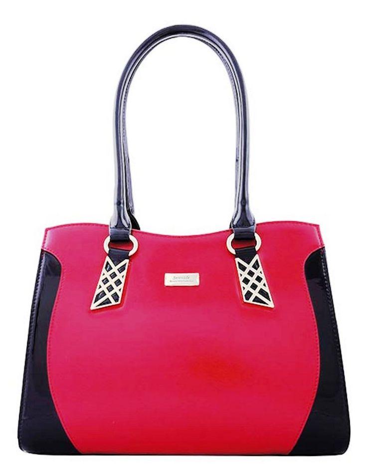 Serenade Dancette Duo Colour Chevron Leather Handbag. SH56-7389.