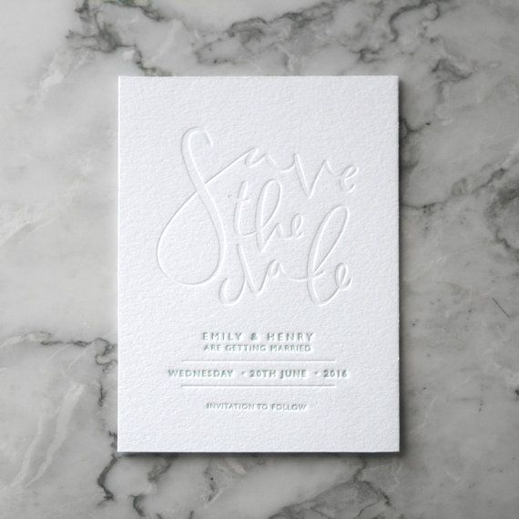 PAPER • Letterpress Save the Date Invites 50 Pieces by TankervillePress