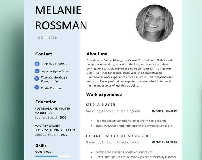 Tamara Resume Cv Template Word Photoshop Indesign Professional Resume Design Cover Letter Instant Download Cv Template Word Google Account Manager Computer Network