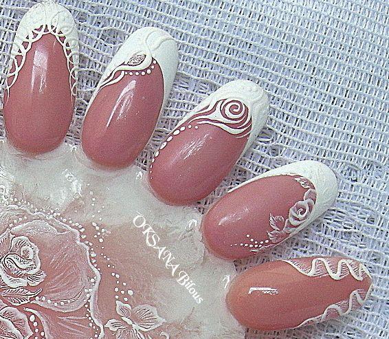 ...semplici design in Gel per unghie da Salone....design monocolore bianco per adattamento a decorazioni matrimoniali....