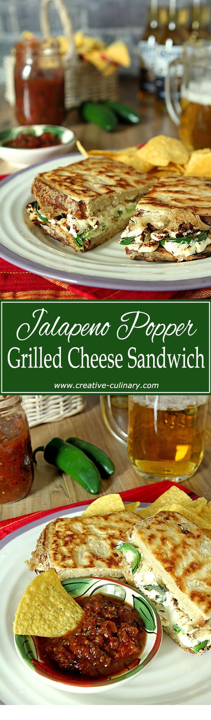Jalapeño Popper Grilled Cheese Sandwich with Beer Battered Crust via @creativculinary