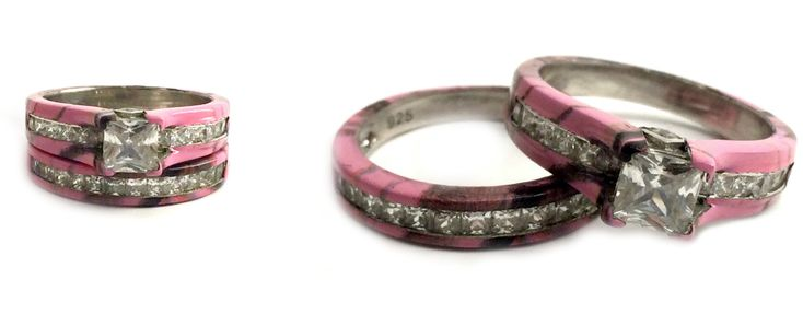 Camo Cathedral Wedding Ring Set
