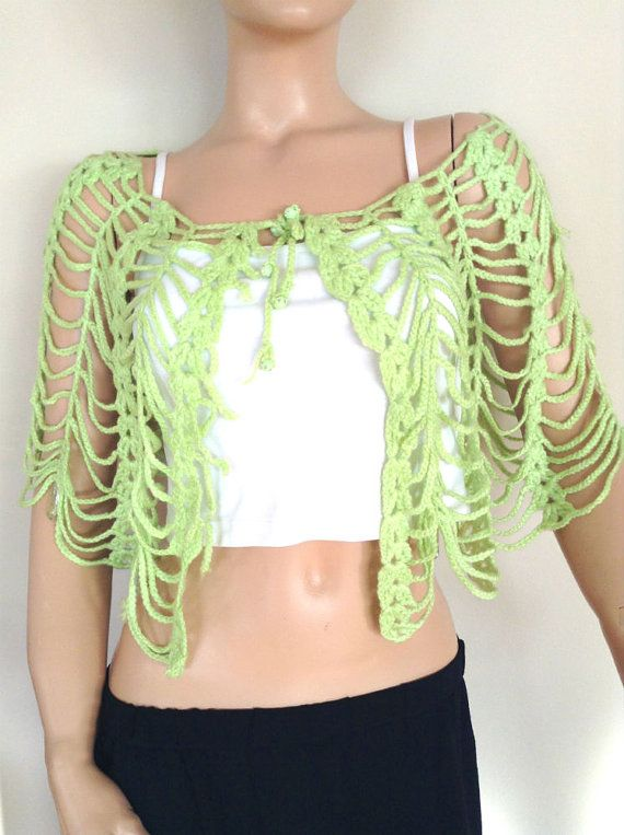 Hand knitted capelet,  knit bolero, summer shawl, summer capelet, green capelet