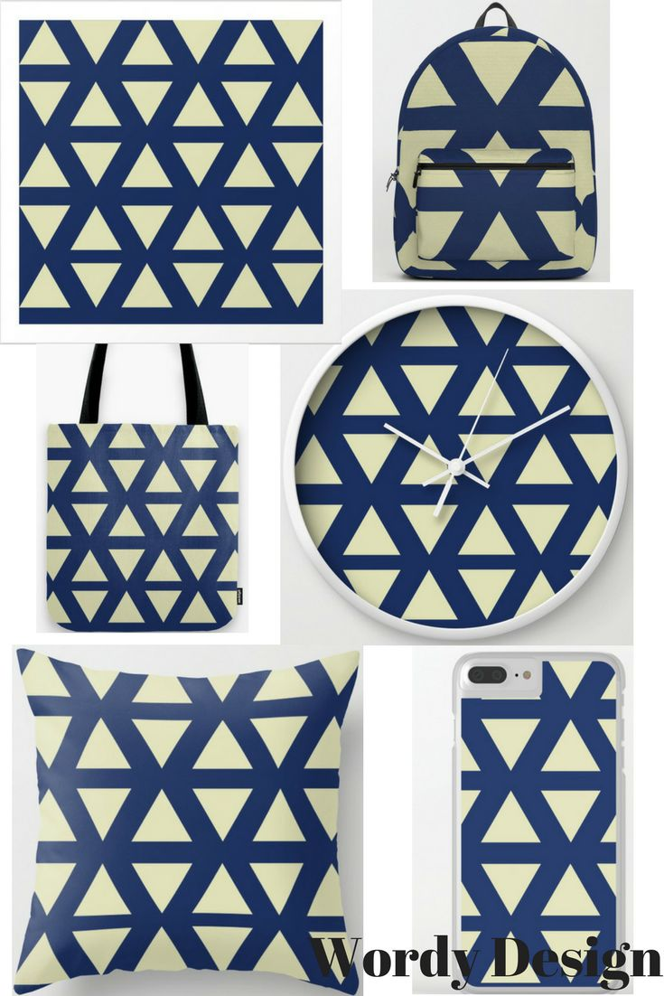#blue #gold #geometric #clock #backpacks #tech #cushion #tote #homedecor #fashion #society6 #color