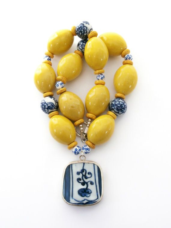 Blue Yellow Statement Necklace Pottery Shard by polishedtwo, $32.00