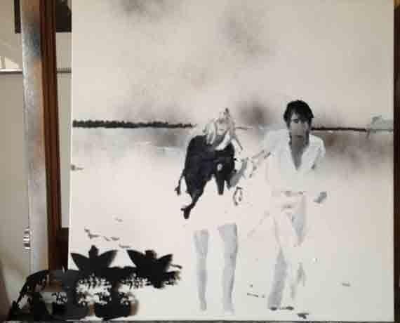 Ράνια Ράγκου, Χωρίς Τίτλο, 2012, Ζωγραφική, Λάδι, Σπρέι και Δέρμα σε καμβά 50 x 50 εκ., a.antonopoulou.art (Αθήνα)