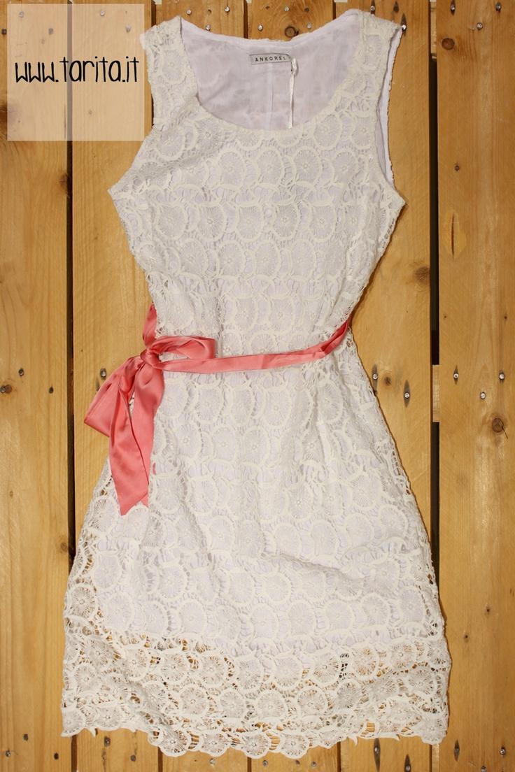 Tarita S/S 2013. Ankorel. white lace dress with pink belt.