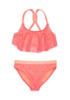 Angel Beach Girls' 2-Piece Crochet Flounce Bikini Girls 7-16 -  - No Size