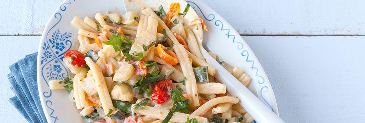 Provamel | Recepten | Hoofdgerechten | Pasta met Courgette, Tomaten en een romig limoensausje.
