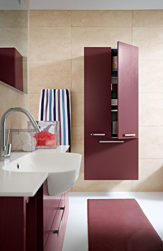 Bagno Slim con finitura rovere laccato bordeaux opaco RO-6 http://www.cerasa.it/it_IT/bagni/moderno/slim/mobili-bagno-slim-s.-40-41