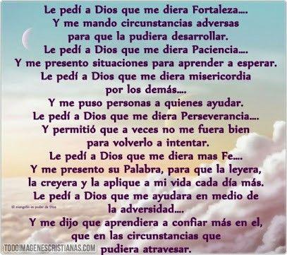 Le pedi a dios ...